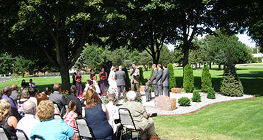 Outside wedding ceremony in Fond du Lac, WI.