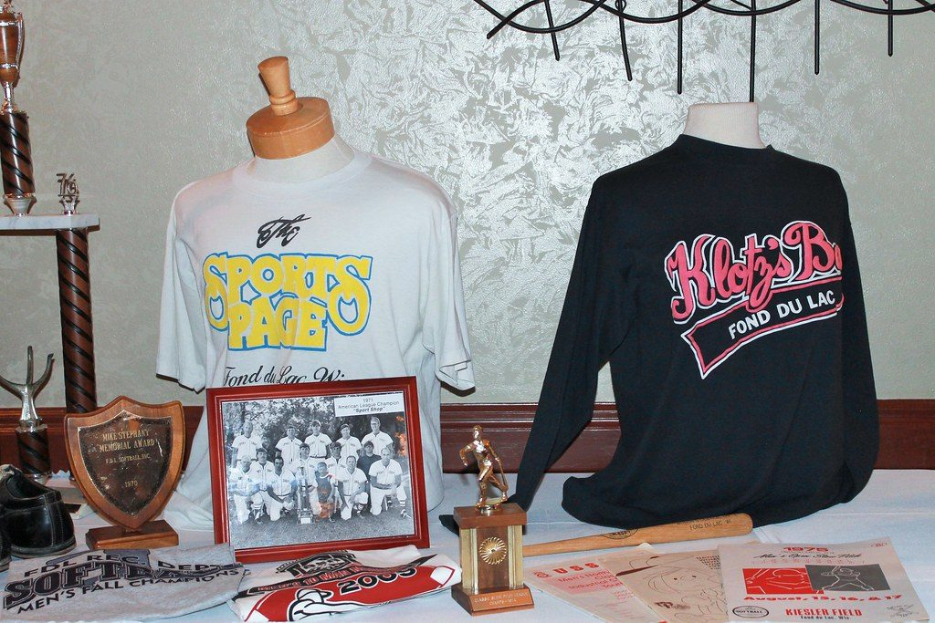 Memorabilia at the Fond du Lac Softball Hall of Fame Banquet 2019.