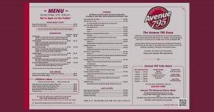 Avenue 795 Friday Night Fish Fry Menu (2020).